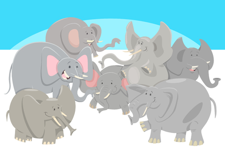 Cartoon illustration of happy wild elephants animal characters group.