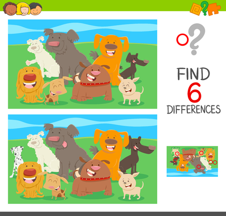 Cartoon illustration of find the differences between pictures educational activity for children with dogs animal characters. Фото со стока - 92472572