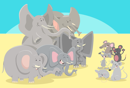 Cartoon humorous illustration of elephants and mice animal characters. Иллюстрация