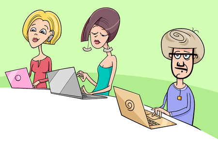 Cartoon illustration of people working on notebook computers.