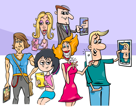 Cartoon illustration of people group with smart phones doing selfie photos.