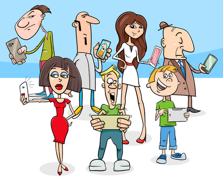 Cartoon illustration of people group with smart phones new technology electronic devices. Ilustração