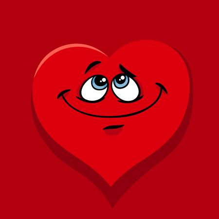 인사말 카드 발렌타인 데이 사랑에 행복 한 하트 문자의 그림 만화. 일러스트