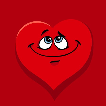 Greeting Card Cartoon Illustration of Happy Heart Character in Love on Valentine Day. Фото со стока - 92685441