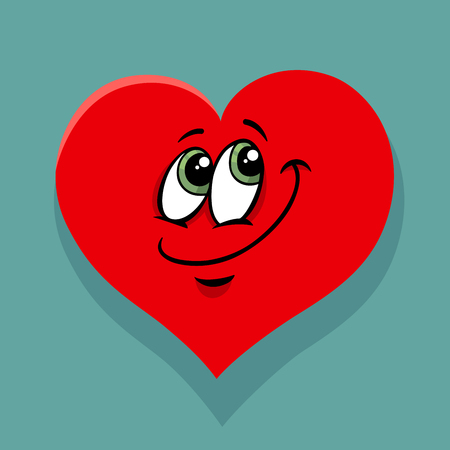 Greeting Card Cartoon Illustration of Happy Heart Character on Valentine Day.