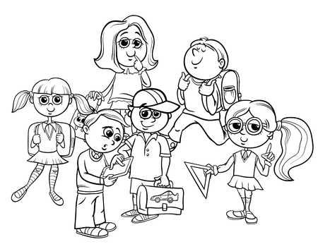 Black and White Cartoon Illustration of Elementary School Students or Pupils Characters Group Coloring Book.