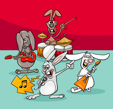 Cartoon Illustration of Funny Rabbits Rock and Roll Musicians Band.