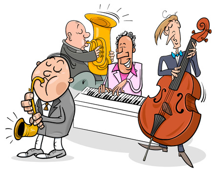 Cartoon Illustration of Jazz Musicians Band Playing a Concert. Vectores