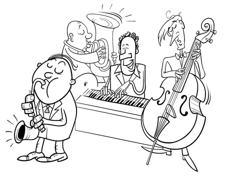 Black and white cartoon illustration of jazz musicians band playing a concert coloring book