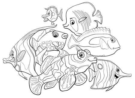 Black and white cartoon illustration of tropical fish sea life animal characters group coloring book.