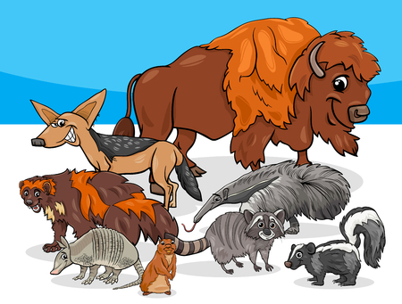 Cartoon illustrations of american animal characters group.
