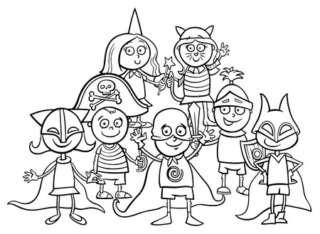 Black and white cartoon illustration of elementary age children characters at the mask ball coloring book.