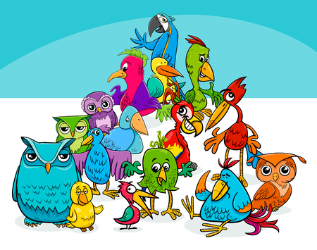 Cartoon illustration of colorful birds animal characters group. Ilustração