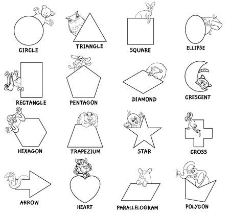 Ilustracion De Dibujos Animados De Formas Geometricas Basicas Con