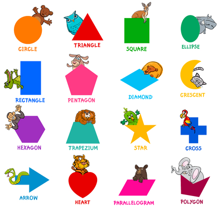 Educational cartoon illustration of basic geometric shapes with captions and animal characters for children. Illustration