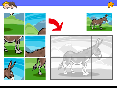 Cartoon illustration of educational jigsaw puzzle activity game for children with funny donkey farm animal character.