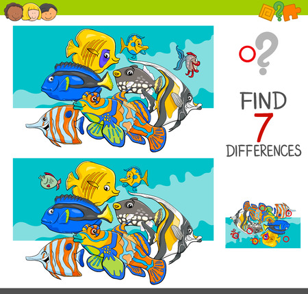 Cartoon illustration of finding seven differences between pictures educational activity game for kids with fish animal characters group.