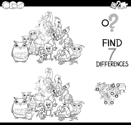 Black and white cartoon illustration of finding seven differences between pictures educational activity game for kids with birds animal characters group coloring book. 일러스트