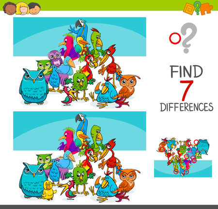 Ilustración de dibujos animados de encontrar siete diferencias entre imágenes juego de actividad educativa para niños con grupo de personajes de animales de aves.