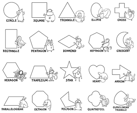 Black and White Cartoon Illustration of Educational Basic Geometric Shapes for Preschool or Elementary School Children with Animal Characters