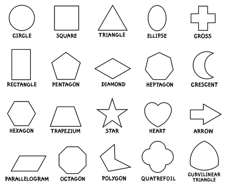 Black and White Cartoon Illustration of Educational Basic Geometric Shapes with Captions for Preschool or Elementary School Children