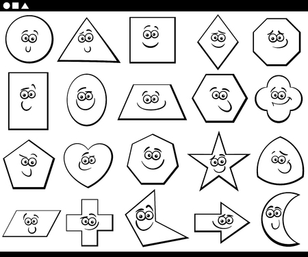 Black and White Cartoon Illustration of Basic Geometric Shapes Funny Characters for Children Education