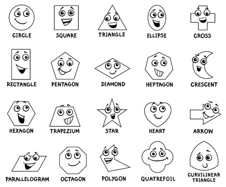 Black and White Cartoon Illustration of Educational Basic Geometric Shapes Characters with Captions for Preschool or Elementary School Children