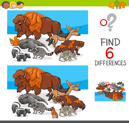 Cartoon Illustration of Finding Six Differences Between Pictures Educational Activity Game for Kids with Wild Animal Characters Group