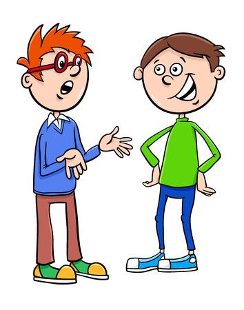 Cartoon Illustration of Elementary School Age or Teenage Boys Characters Talking