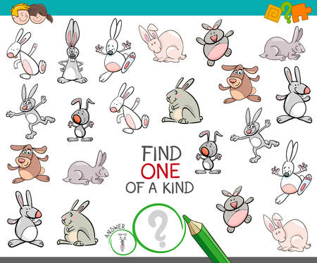Cartoon Illustration of Find One of a Kind Picture Educational Activity Game for Children with Rabbits Animal Characters