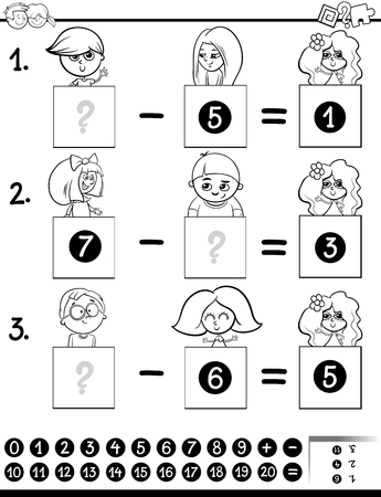Black and White Cartoon Illustration of Educational Mathematical Subtraction Puzzle Game for Preschool and Elementary Age Children with Boys and Girls Characters Coloring Book 向量圖像