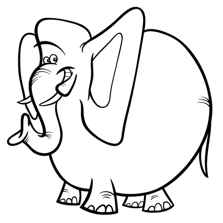 Black and White Cartoon Illustration of Elephant Wild Animal Character Coloring Book