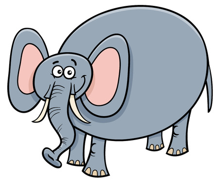 Cartoon Illustration of Cute Funny Elephant Animal Character