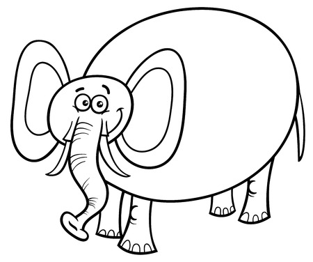 Black and White Cartoon Illustration of Cute Funny Elephant Animal Character Coloring Book