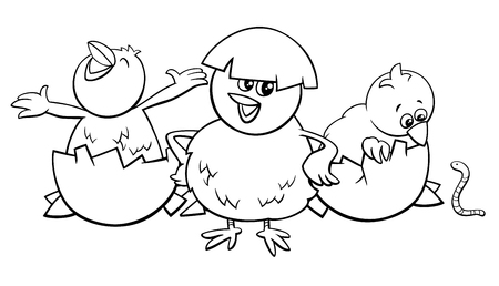 Black and White Cartoon Illustration of Little Chicks Characters Hatching from Eggs Coloring Book