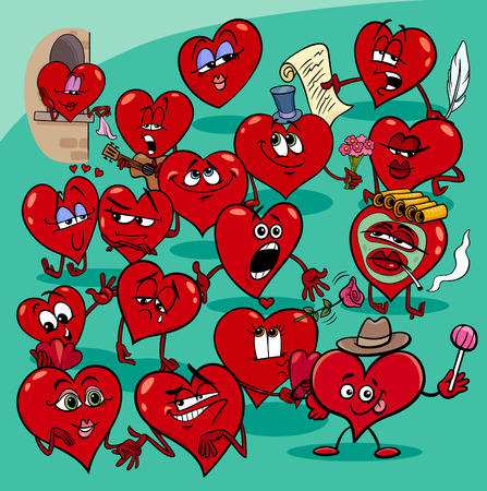 Cartoon Illustration of Funny Valentines Day Hearts Characters Group Illustration