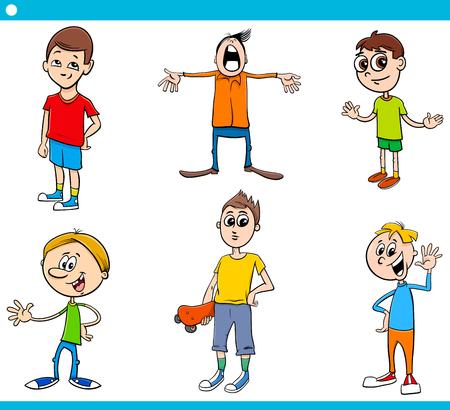 Cartoon Illustration of Elementary Age Boys Children Characters Set