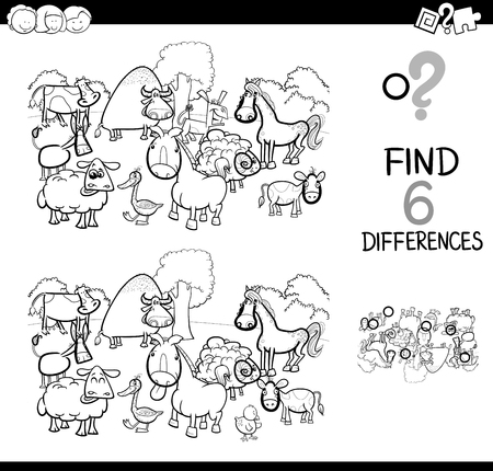 Black and White Cartoon Illustration of Find and Spot Six Differences Between Pictures.