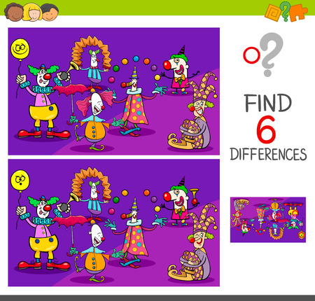 Cartoon Illustration of Find and Spot Six Differences Between Pictures Educational Activity Game for Kids with Clown Characters Group