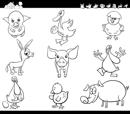 Black and White Cartoon Illustration of Funny Comic Farm Animal Characters Set Coloring Book