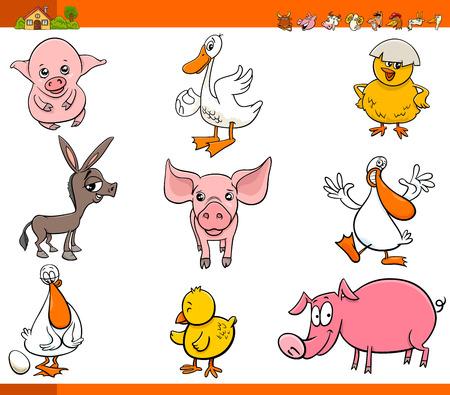 Cartoon Illustration of Funny Comic Farm Animal Characters Set