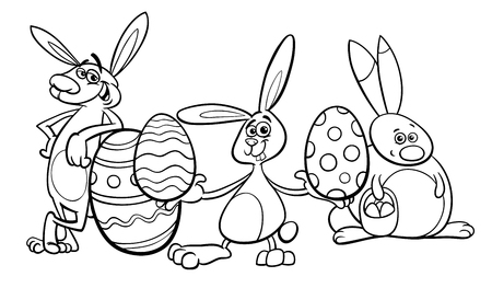 Black and White Cartoon Illustration of Funny Easter Bunnies Characters with Colored Eggs Coloring Book
