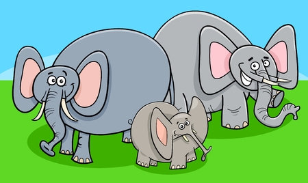 Cartoon Illustration of Cute Funny Elephants Animal Characters Group or Family