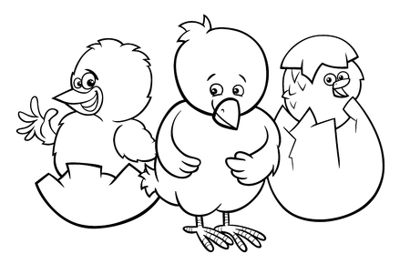 Black and White Cartoon Illustration of Little Chickens Characters Hatching from Eggs Coloring Book