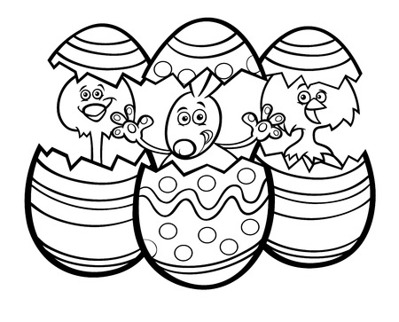 Black and White Cartoon Illustration of Easter Bunny and Little Chickens in Colorful Eggshells of Easter Eggs Coloring Book