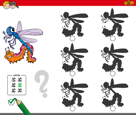 Cartoon Illustration of Finding the Shadow without Differences Educational Activity for Children with Insects Animal Characters