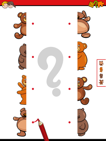 Cartoon Illustration of Educational Game of Matching Halves of Teddy Bears Characters