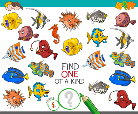 Cartoon Illustration of Find One of a Kind Picture Educational Activity Game for Children with Fish Sea Life Animal Characters  イラスト・ベクター素材
