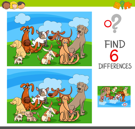 Cartoon Illustration of Find and Spot Six Differences Between Pictures Illustration