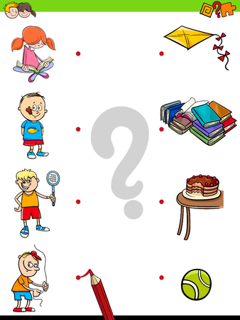 Cartoon Illustration of Educational Pictures Matching Game for Children with Kid Characters and their Activities